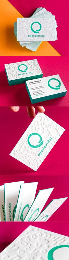 Bright And Cheerful Textured Letterpress Edge Painted Business Card For An Education Community