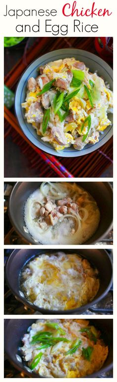 Low Unwanted Fat Cooking For Weightloss One-Pot Japanese Chicken And Eggs Rice - Healthy, Delicious, Super Easy And Takes Only 15 Minutes From Prep To Dining Table I Love Food, Good Food, Yummy Food, Tasty, Oyakodon Recipe, Asian Recipes, Healthy Recipes, Ethnic Recipes, Japanese Chicken