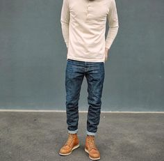 Mens Fashion Rugged – The World of Mens Fashion Cute Fall Outfits, Casual Outfits, Stylish Men, Men Casual, Denim Fashion, Fashion Outfits, Bon Look, Estilo Jeans, Red Wing Boots