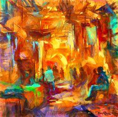 "Saatchi Art Artist Ben Rotman; Painting, ""Alley market"" #art"