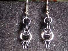 Modified black and silver aluminum byzantine chainmail earrings.. $8.00, via Etsy.