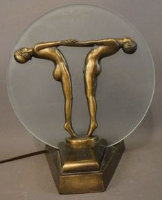 Antique ART DECO Era NUDE MAN & LADY Bronzed STATUE Round FROSTED GLASS TV LAMP