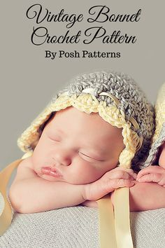 A pretty vintage style crochet bonnet pattern made with @lionbrandyarn Martha Stewart Extra Soft Wool Blend Yarn. By Posh Patterns.