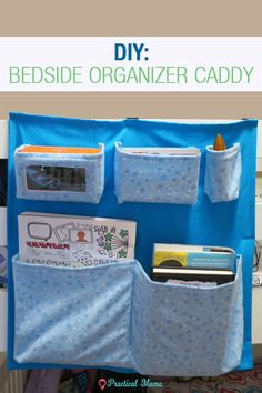 DIY: Bedside organizer caddy to organize all your bedtime junk. Printable pattern with directions and instructions. Bed Caddy, Bedside Caddy, Bedside Organizer, Hanging Organizer, Bedside Storage, Pocket Organizer, Bedside Tables, Bed Storage, Storage Ideas