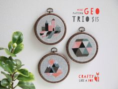 Geo Trio modern cross stitch pattern PDF downloads - three easy geometric patterns to download instantly