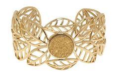 Gold druzy cuff bracelet with beautiful leaf motif. #jewelry