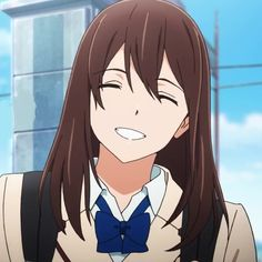 Sakura Yamaguchi from anime movie, Kimi no Suizo Wa Tabetai (I Want to Eat Your Pancreas). Anime Toon, M Anime, Anime Chibi, Anime Art Girl, Anime Films, Anime Characters, Yuno Gasai Anime, Anime Girl Brown Hair, Awesome Anime