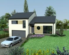 Clémence Design est un modèle de maison de 5 ou 6 pièces de style contemporain en ½ niveau sur sous sol avec garage 2 voitures. Elle possède 6 pièces pour une surface de 89 m². Gamme design - Maisons HCC