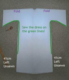 PAP Como compor o vestido da Princesa Leia / How to asemble Princess Leiau0027s Dress DIY & Leia Dress Pattern with dimensions for an adult but easy to modify ...