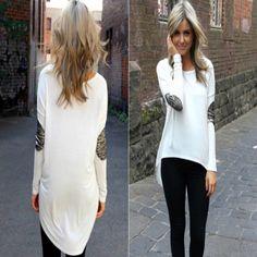 Asymmetric Glitter Long Sleeves Women Tops
