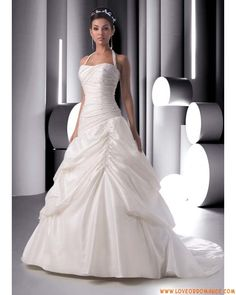 Taffeta Beaded Halter and Bodice with A line Skirt and Chape...