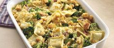 Layer frozen ravioli with veggies, sauce and the works for a hearty baked Italian-style casserole.