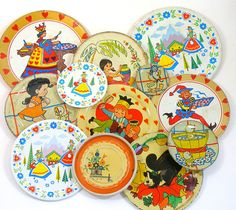 50s Tin Toy Tea Plates Storybook characters set by OldeTymeNotions, $58.00
