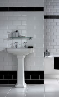 Black and White Bathroom Tiles in a Small Bathroom Metro Tiles Bathroom, Black Tile Bathrooms, Black And White Tiles Bathroom, Art Deco Bathroom, Upstairs Bathrooms, Modern Bathroom, Small Bathroom, Bad Inspiration, Bathroom Inspiration