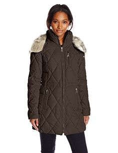 Nautica Womens Diamond Quilted Puffer Coat with Hood Chocolate XSmall *** Check this awesome product by going to the link at the image.