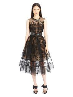 Oscar de la Renta - Leaf Embroidered Cage Cocktail Dress
