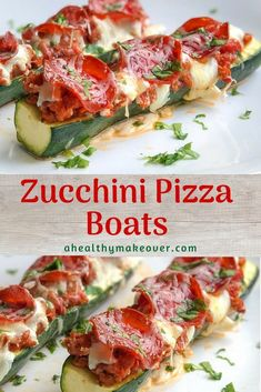 A simple and delicious low carb dinner that your family will love. Any of your favorite pizza toppings are perfect for easy pizza stuffed zucchini boats. Zucchini Pizza Boats, Zucchini Boat Recipes, Vegetable Recipes, Low Carb Recipes, Cooking Recipes, Healthy Recipes, Healthy Foods, Healthy Dishes, What's Cooking