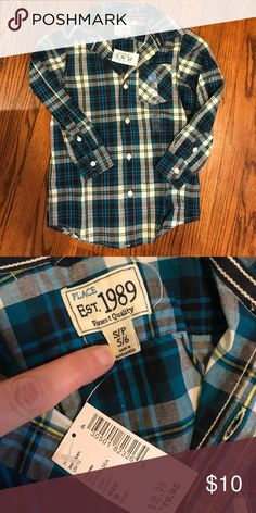 NWT Boys Button Down Dress Shirt Teal, Navy, White, Grey & Yellow Brand New The Children's Place Shirts & Tops Button Down Shirts