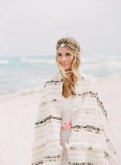 Bo and Luca Hera headpiece // Moroccan wedding blanket from Amber Interiors // IWEARTHEHEADRESS flower sash - Tulum beach wedding / bohemian bride www.nadiahungphotography.com