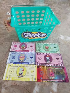 Shopkins party favors. Personalized money and Shopping basket to shop at the store instead of just handing out party favor. It was a hit!!! Email me if you are intereated in purchasing some money or baskets for your next Shopkins birthday party. Diana.fraire@yahoo.com