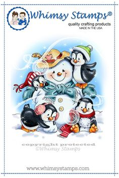 Crissy Armstrong Collection Penguins Build a Snowman The Crissy Armstrong Collection for Whimsy Stamps. Deeply etched rubber mounted on cling cushion foam, untrimmed. Approximate size in inches: x Whimsy Stamps, Digi Stamps, Christmas Nail Designs, Christmas Crafts, Penguin Art, Image Stamp, Pintura Country, Build A Snowman, Christmas Drawing