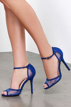 Cobalt Blue Heels - Peep Toe Heels - Blue Shoes - $25.00- I hope these come back in Stock!!