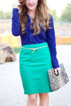 Cute business casual: emerald green & cobalt blue color combo.