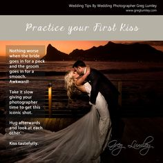 You only get one night so make sure you are prepared for the unforeseen and take not of some of these wedding tips from a top wedding photographer Greg Lumley. Top Wedding Photographers, Photographer Wedding, First Kiss, Cape Town, First Night, Wedding Tips, Groom, Bride, Marriage Tips