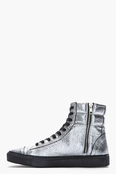 SILENT BY DAMIR DOMA Metallic Silver Crinkled Satur High-Top Sneakers