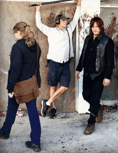 Norman Reedus and Merritt Wever on the set of The Walking Dead 6.14: 'Twice As Far'