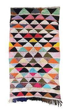 "Vintage Moroccan Kilim Boucherouite, Moroccan Kilim, Kilim Rug, 4'3"" x 8'0"""