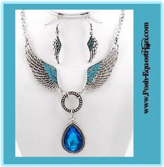 Beautiful Angel Wing Necklace with Blue Glass Pendant $9.99 www.Posh-Equestrian.com