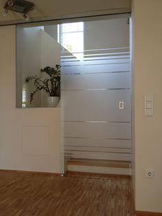 automatische glasschiebet r mit fixteil und. Black Bedroom Furniture Sets. Home Design Ideas