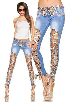 jeans denim blue jeans pants shorst skirt maxi dress slit lace up blue trousers denim shorts ripped jeans skinny pants skinny jeans embellished denimCut out and scarf cording Jeans - no tutorial Sexy Jeans, Lace Jeans, Ripped Jeans, Jeans Pants, Denim Shorts, Cut Jeans, Sexy Outfits, Cool Outfits, Fashion Outfits