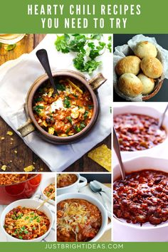 These quick and easy chili recipes are healthy and kid friendly too. They're perfect for lazy winter evenings or tailgating! Chili Recipes, Easy Recipes, Easy Meals, Tailgating, Chana Masala, Thanksgiving Recipes, Lazy, Soup, Pumpkin