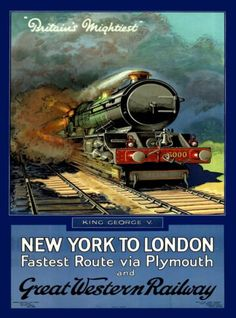 New-York-To-London-England-Great-Britain-Railroad-Travel-Advertisement-Poster