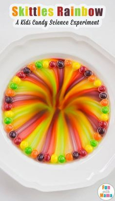 fun and awesome skittles rainbow kids candy science experiment will WOW the whole family. Kids will watch the magic colors unfold on a plate. This activity is for toddlers, preschoolers, elementary grade students, kids and adults. this activity wil Candy Experiments, Easy Science Experiments, Kindergarten Science Experiments, Experiments For Kids Easy, Science Classroom, Science Lessons, Science Week, Science For Kids, Science Projects For Preschoolers