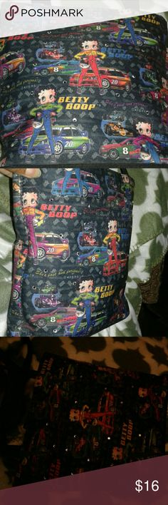 """Betty Boop NASCAR Tote Cute tote with Betty Boop and NASCAR theme. Front has crystals see pic 3.  Footed with Inside zippered pocket, open pocket and center zippered section. Appx 9x8.75x3.75 with 10.5"""" drop. EUC. Bags Totes"""