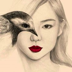 Beautiful portrait illustrations by OkArt . The south Korean artist using the effect of double exposure by merging the eye of the model with that of the bird explores harmony between humans and animals. Bird Drawings, Drawing Faces, Cool Drawings, Pencil Drawings, Portraits Illustrés, Art Amour, Wow Art, Portrait Illustration, Art Design