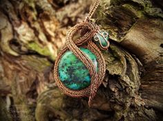 Viking knit copper snake pendant