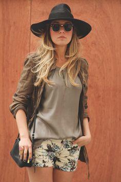 Black hat, flowers shorts, parka, military, spring trend, saint laurent, blog de moda, mini bolso, clubmaster, panama
