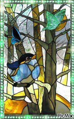 Fado a la Lune by ~pablapicassa on deviantART stained glass window Stained Glass Birds, Stained Glass Lamps, Stained Glass Designs, Stained Glass Panels, Stained Glass Projects, Stained Glass Patterns, Leaded Glass, Tiffany Glass, Mosaic Art
