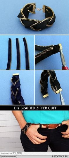 BRAIDED ZIPPER CUFF (5 ways to .. with zippers) >http://www.brit.co/zipper-bracelets/