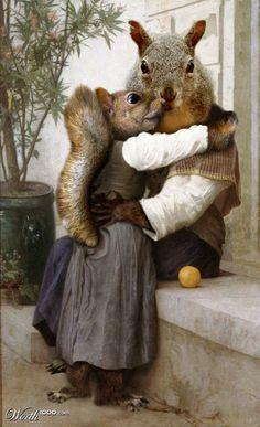 """Renaissance Squirrel"" anthropomorphic art by Sankrah - Animal Renaissance 10 - Worth1000 Contests."