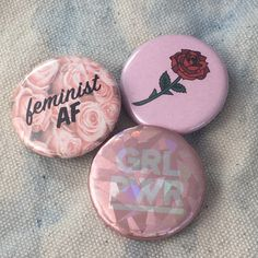 Feminist Button Pins s/3 Feminist AF, Long Stemmed Rose, GRL PWR... (26 PLN) ❤ liked on Polyvore featuring jewelry, rose jewellery, pin jewelry, pink jewelry, hologram jewelry and sparkle jewelry