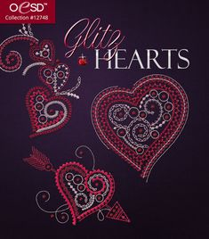 Glitz up your Valentines with this trio of hearts created with diverse decorative stitches.