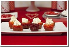 strawberry cheesecake bites... Ingredients: 1 container of strawberries 1 package (8oz) cream cheese (room temp) 1 teaspoon vanilla extract 2 tablespoons confectioners sugar