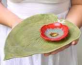 Ceramic serving plate Hosta Leaf platter tray Green wedding table setting Handmade ceramic pottery perfect for sushi Pottery Plates, Slab Pottery, Ceramic Pottery, Pottery Art, Ceramic Studio, Ceramic Clay, Ceramic Tableware, Ceramic Bowls, Arreglos Ikebana