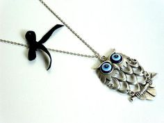 Silver plated resin blue evil eyed owl a perfect by HirasuGaleri, $22.00 #jewelry #necklace #silverplated #owlnecklace #blue #blackribbon #silverplatednecklace #women #girl #fashion #mother'sday
