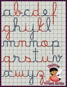 Cross stitch alphabet elementary school cursive
